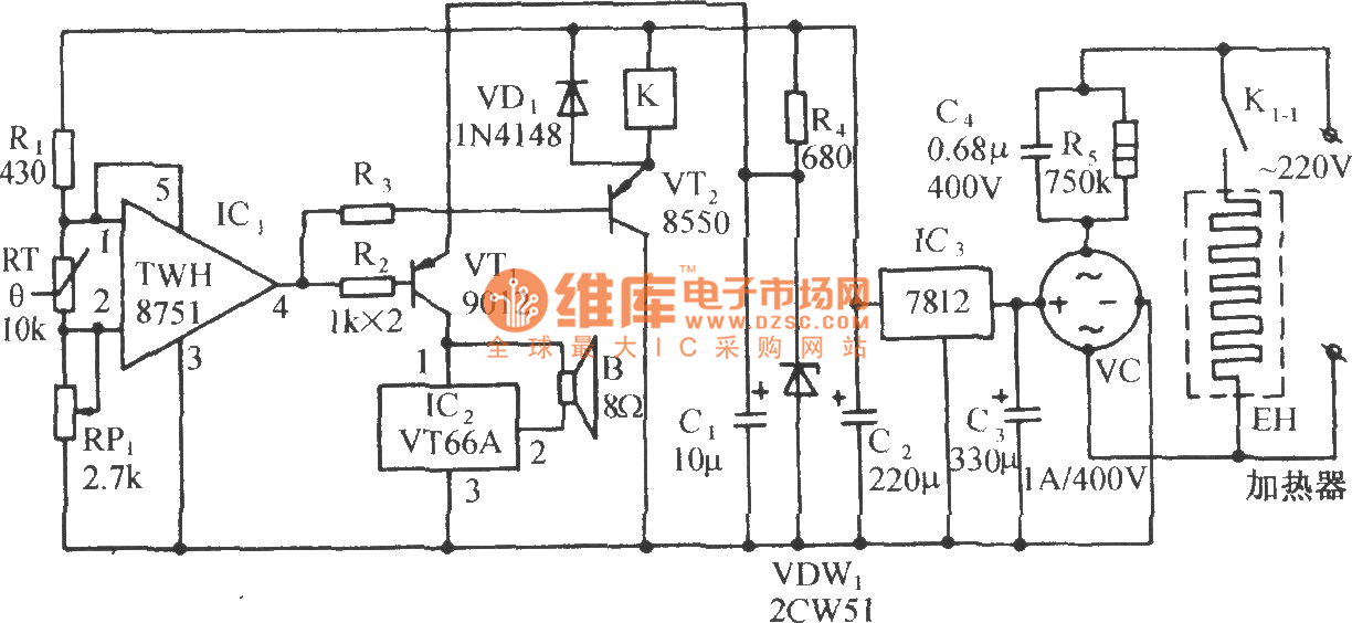 poultry barn constant temperature control and music sound circuit - control circuit