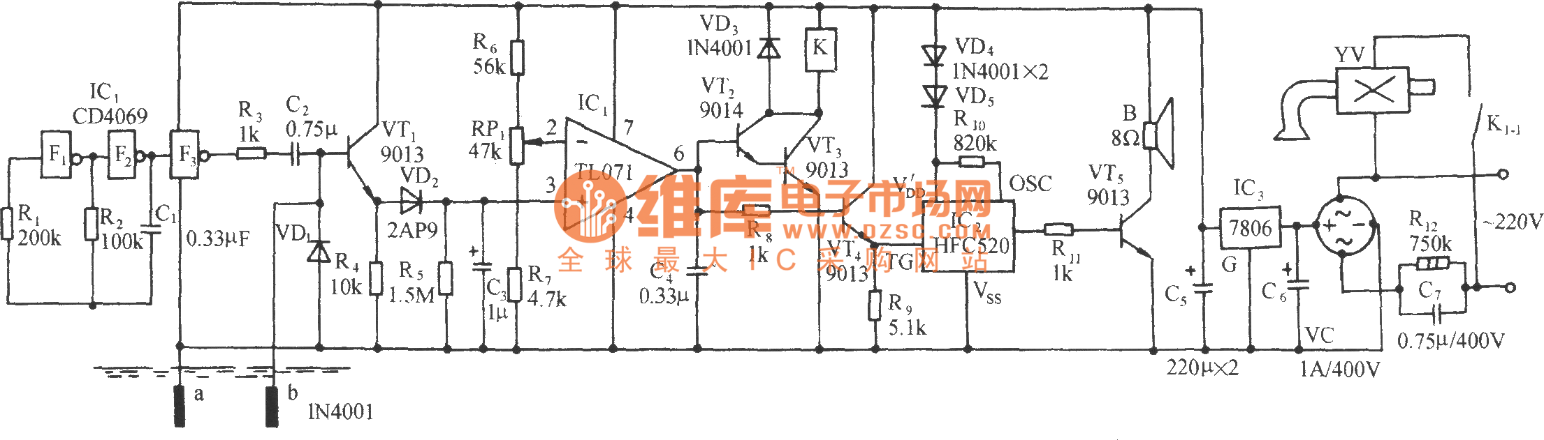 Flower Nursery Water Shortage Automatic Irrigation Control And Voice Alarm Circuit Diagram