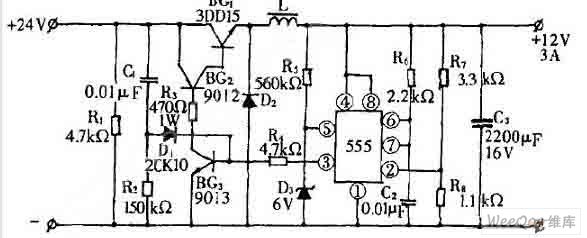 24v converting to 12v switching power supply circuit