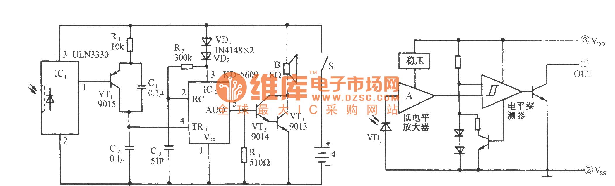 Insufficient Light Cock Sound Alarm Circuit Control Diagram