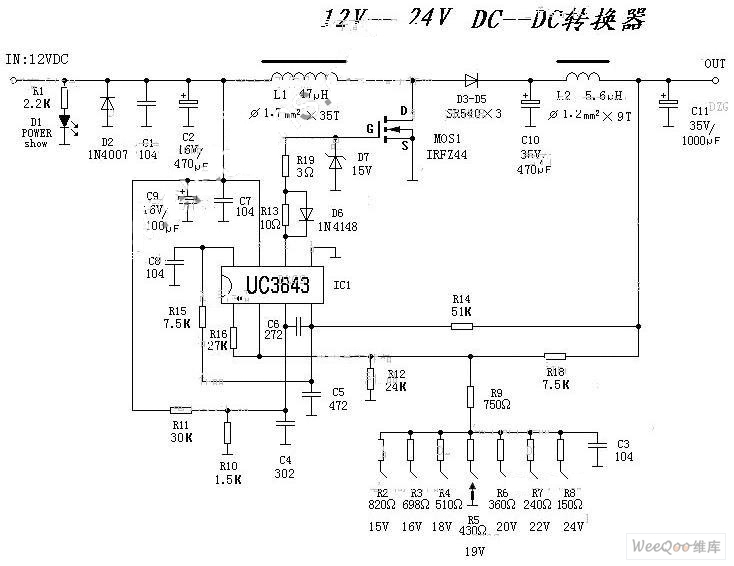 circuit diagram of dc converter from 12v to 24 v