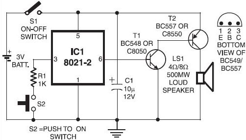 electronic doorbell circuit - audio circuit - circuit diagram