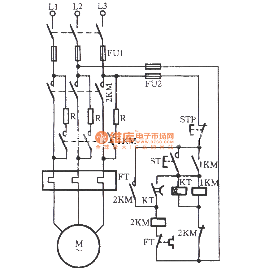 Automatically series resistor start three phase motor circuit on ac contactor wiring diagram
