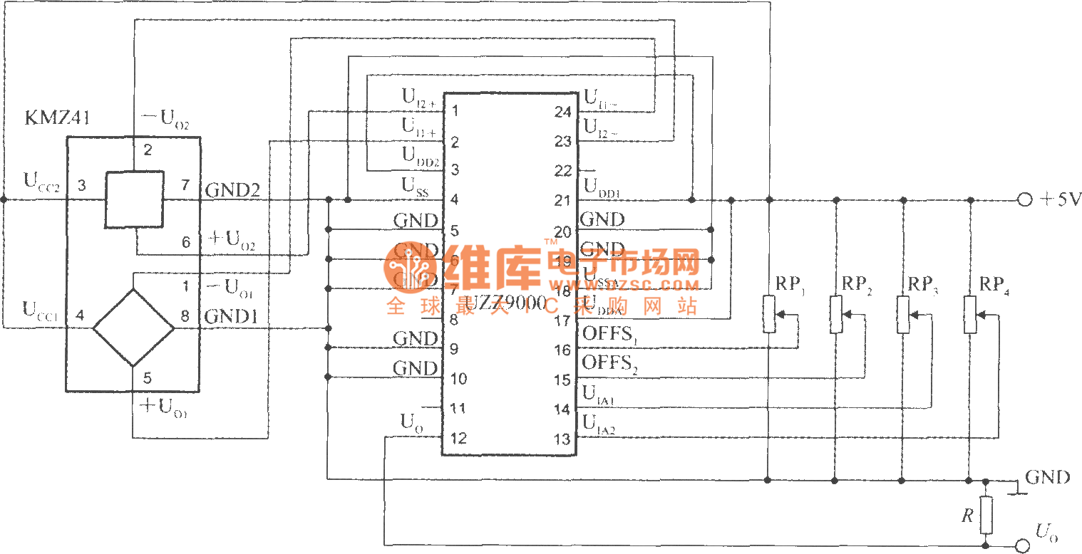The Voltage Output Angle Detection Circuit Using Angel Sensor Signal Mosfetdipmeter Measuringandtestcircuit Diagram Conditioner Uzz9000 And Magnetoresistive Kmz41