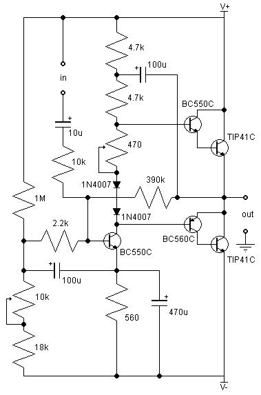 21w class ab amplifier - amplifier circuit - circuit diagram