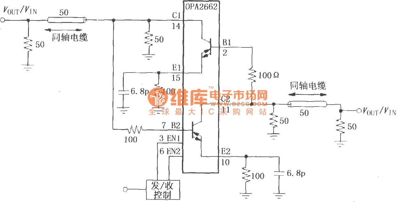 Bidirectional Line Driver Circuit Composed Of Double Broadband 555 Internal 555circuit Diagram Seekiccom Transconductance Operational Amplifier Opa2662