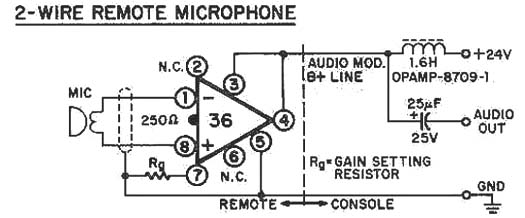2-wire Remote Microphone - Electrical Equipment Circuit - Circuit Diagram