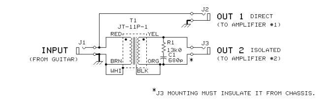 2-way Passive Guitar Splitter - Power Supply Circuit - Circuit Diagram