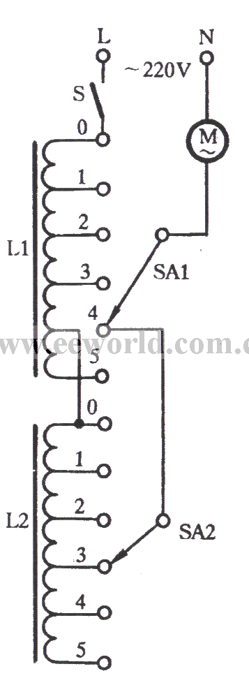 the series inductance trimming tap speed adjusting circuit - basic circuit