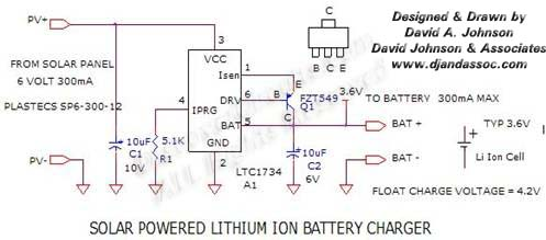 Circuit Solar Powered Lithium Ion Battery Charger