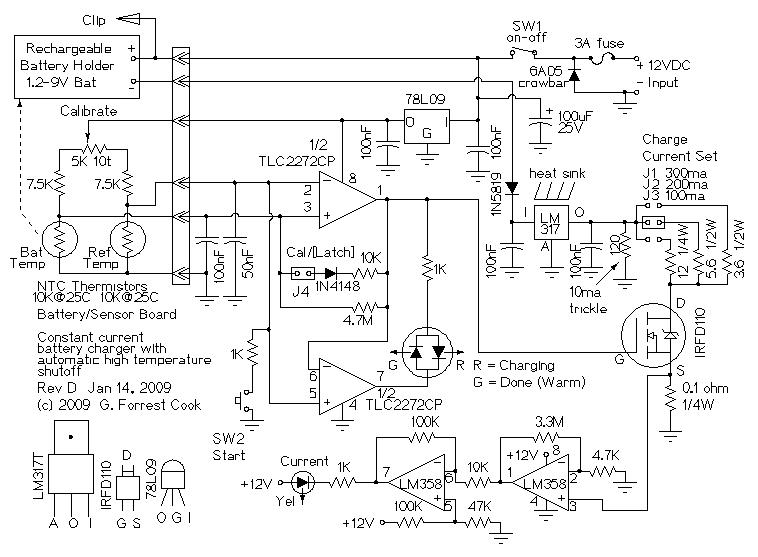 12v  4-aa cell differential temperature charger - power supply circuit
