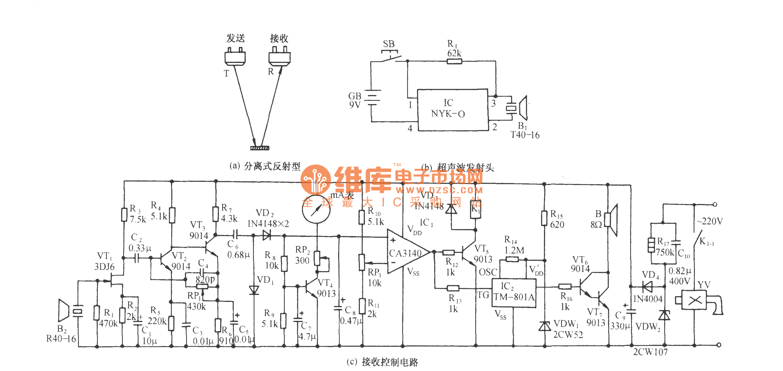 Ultrasonic Liquid Level Remote Control And Indicator Circuit Telephonerelatedcircuit Electricalequipmentcircuit