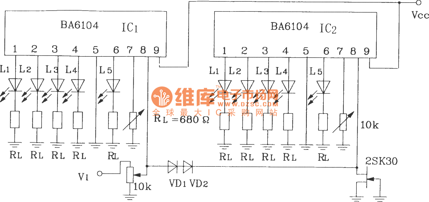10 Point Led Level Display Circuit With 2 Blocks Of Ba6104 5 Bit Diagram 28 Computerrelatedcircuit