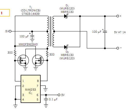 push-pull driver provides isolated 5v at 1a