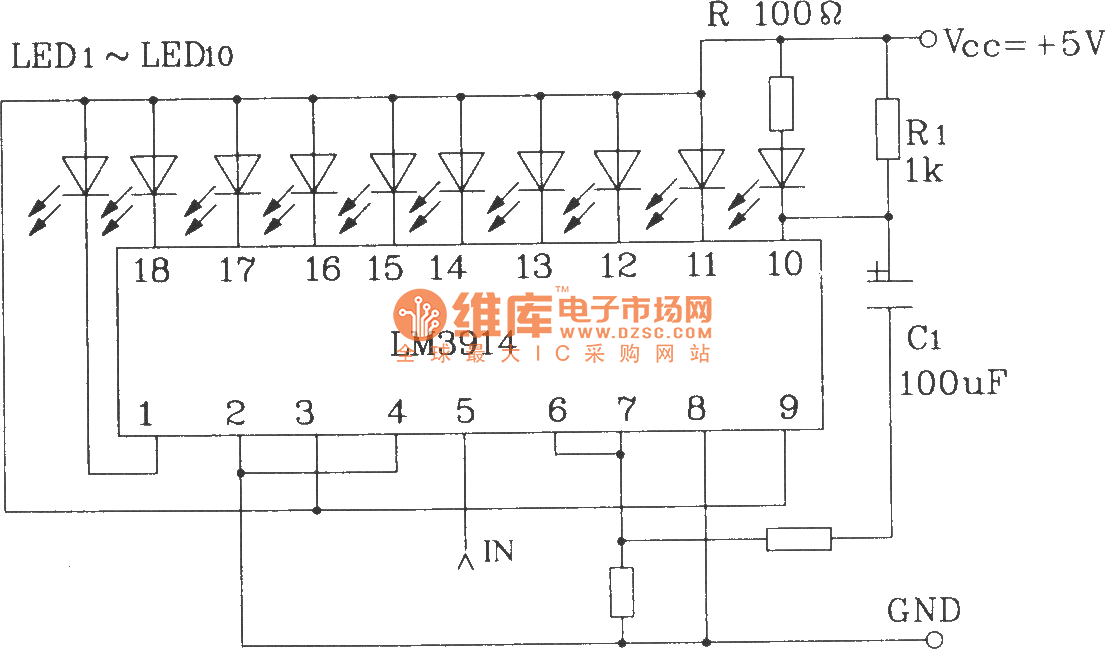 led dispaly circuit with flashing alarm using lm3914 series of point rh seekic com