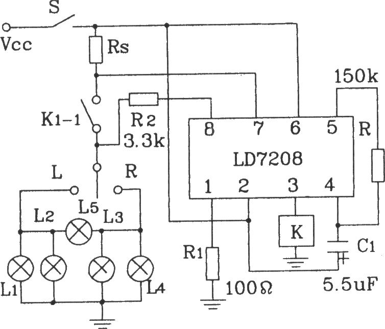 the ld7208 car turning alarm asic typical application