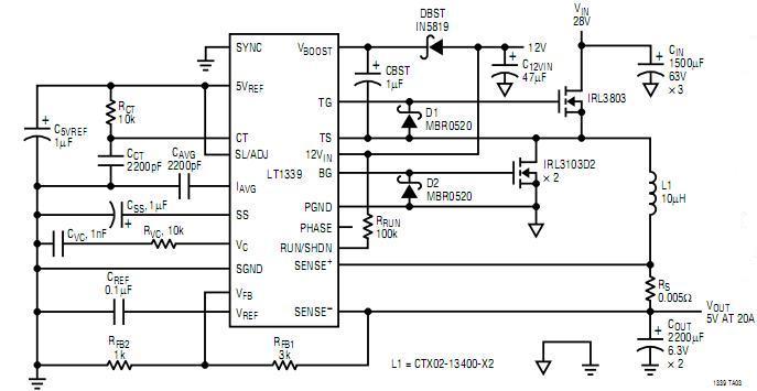 28v to 5v 20a buck converter - power supply circuit - circuit diagram
