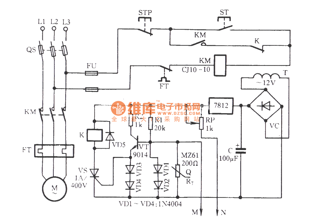 the motor overheating and influent protection circuit
