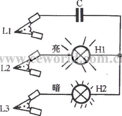 phase sequence indicator circuit using incandescent and