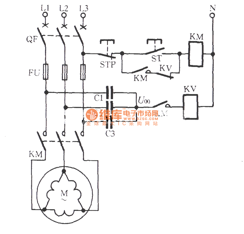 connection motor phase failure voltage relay protection