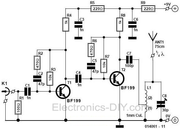 mini fm radio transmitter - signal processing - circuit diagram