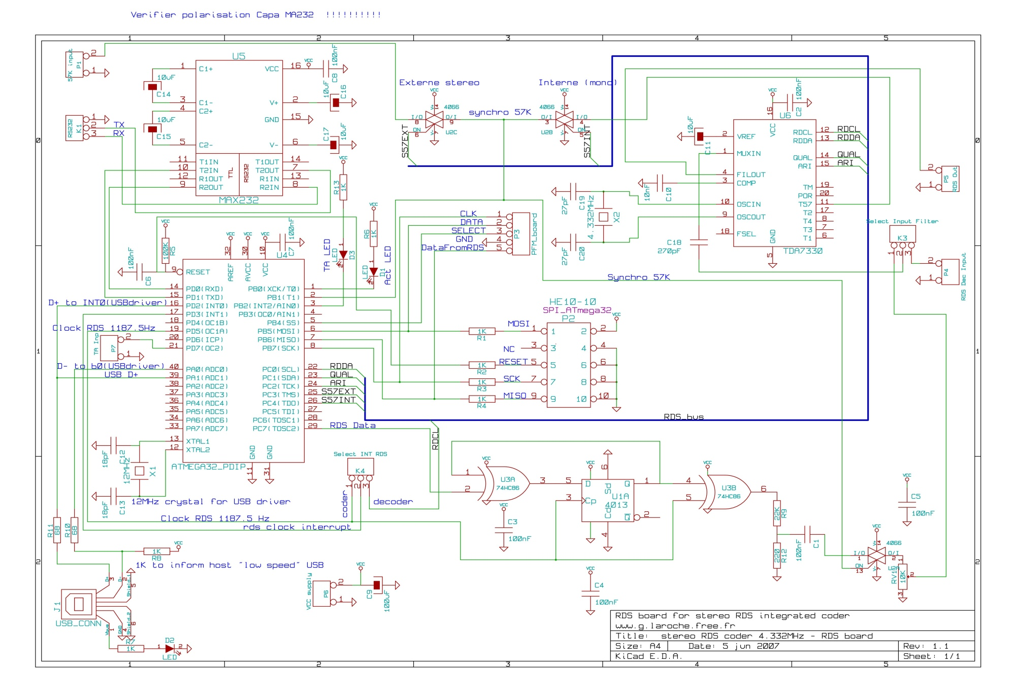 Usb Rds Coder Board Using Atmega32 Digital Circuit Basic Chopperforictester Basiccircuit Diagram Seekiccom