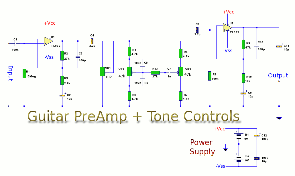 Wiring Diagram For Guitar Tone Control : Guitar preamp with tone controls amplifier circuit