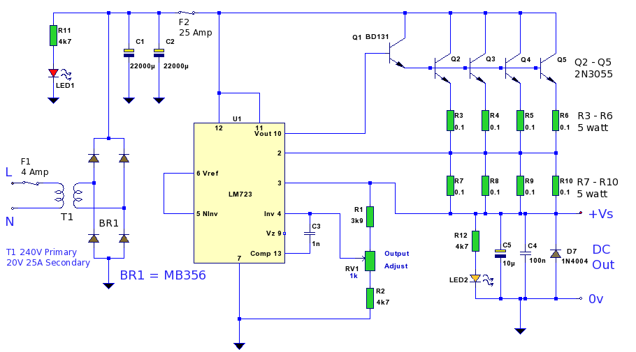 Thread325928 further Increasing Current On 78xx Series Regulators in addition Simple 12v Dc Power Supply Circuits besides  together with General Purpose Power Supply. on 2n3055 voltage regulator diagram