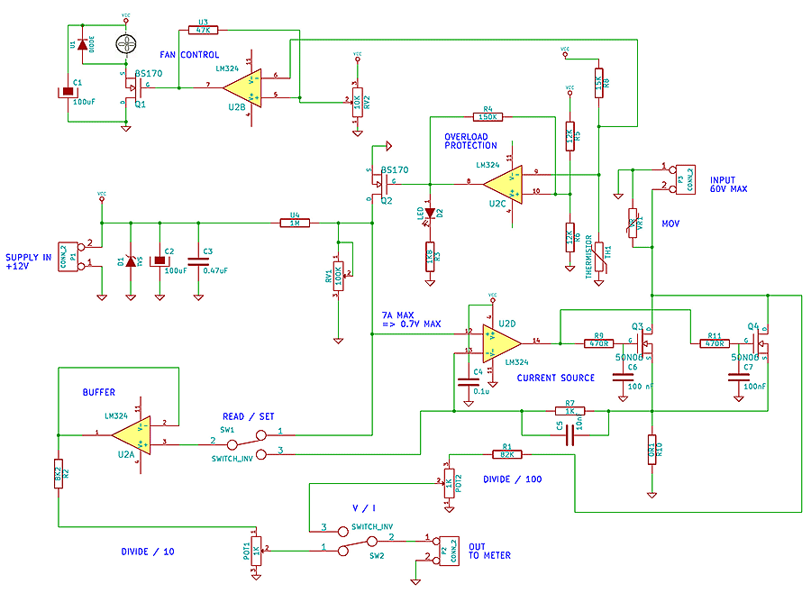 Building An Adjustable Constant Current Load - Power Supply Circuit - Circuit Diagram