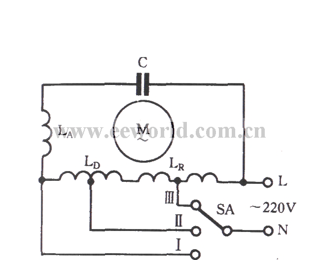 Single-phase motor winding tap L-1 connection three-speed circuit ...
