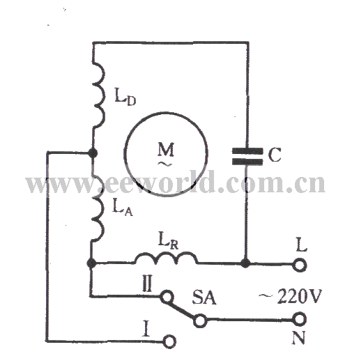 Single-phase motor winding tap L-2 connection two-speed circuit ...