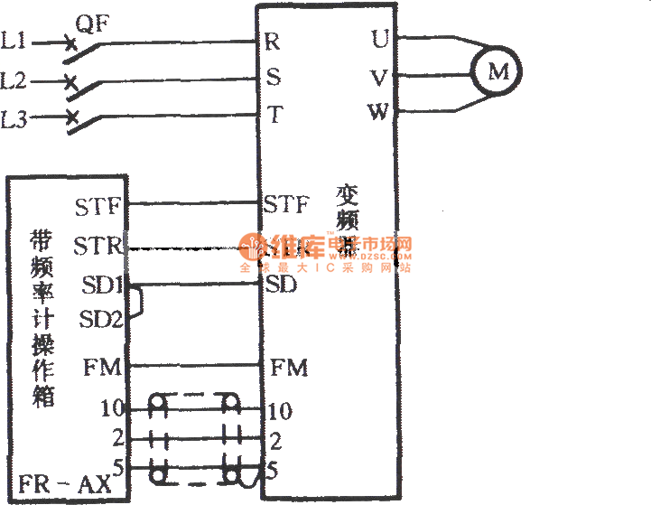inverter speed control circuit with a frequency meter operation box - basic circuit