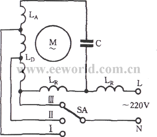 Single-phase motor winding tap H connection three-speed circuit ...