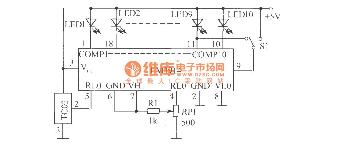 temperature measuring circuit - measuring and test circuit - circuit diagram