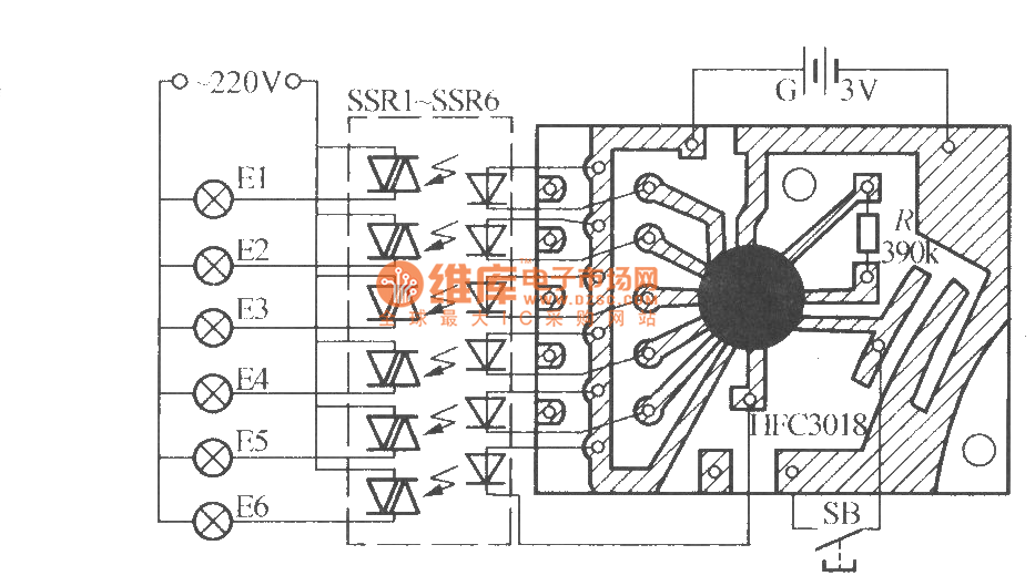 six-way blinking light string circuit   1     hfc3018   - led and light circuit
