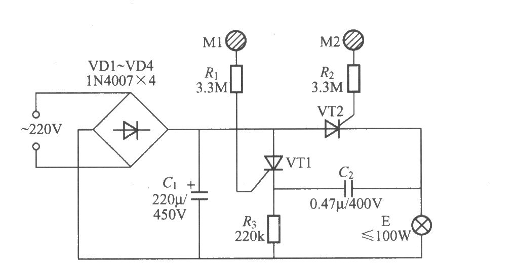 double-key touching lamp switch circuit  9  - led and light circuit - circuit diagram