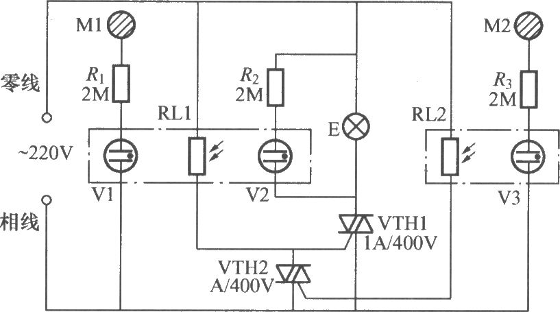 double-key touching lamp switch circuit  2  - led and light circuit - circuit diagram