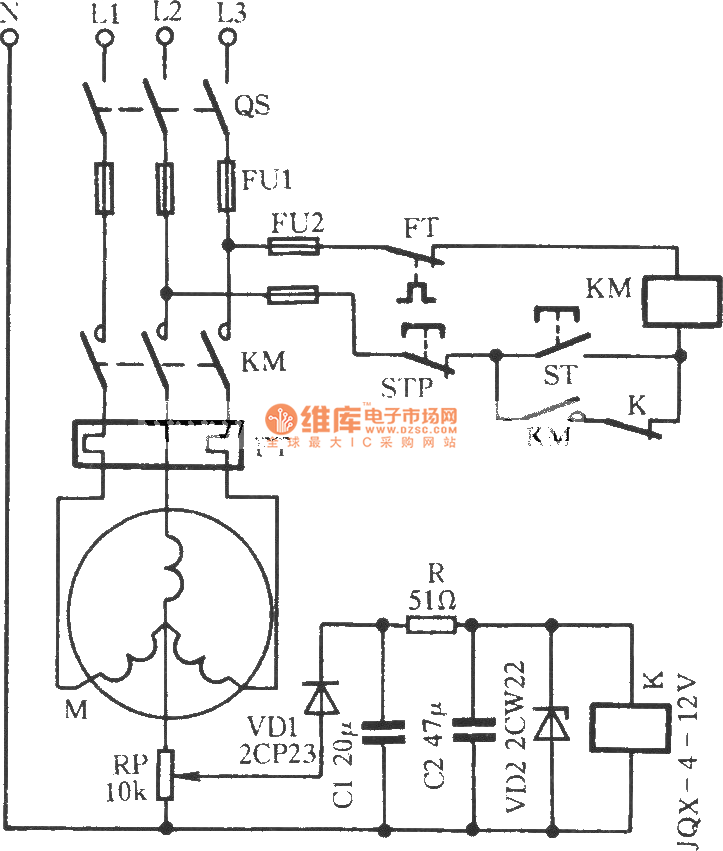 y-connection motor protection circuit - protection circuit - control circuit