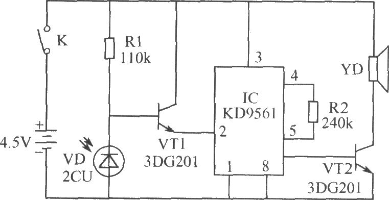 burglar alarm circuit composed of photodiode