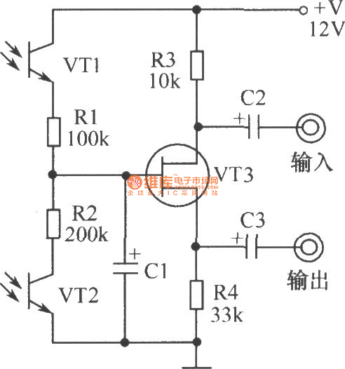 light operated potentiometer circuit composed of phototransistor circuit circuit