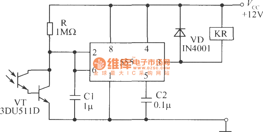 sensitive photoswitch circuit composed of phototransistor - basic circuit