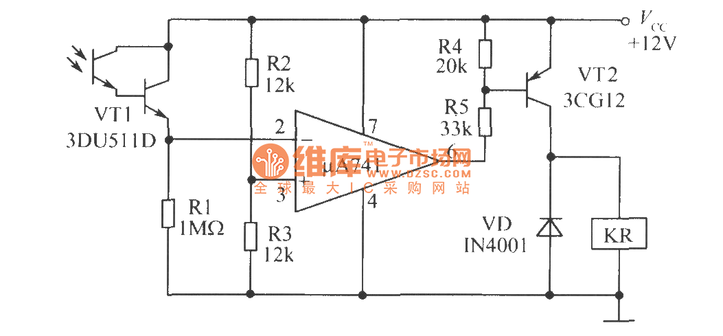 light trigger switch composed of phototransistor - basic circuit - circuit diagram