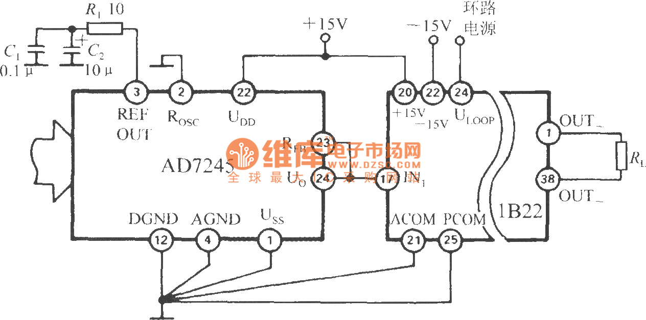 The current loop interface of D/A converter (1B22 isolated programmable  voltage/current
