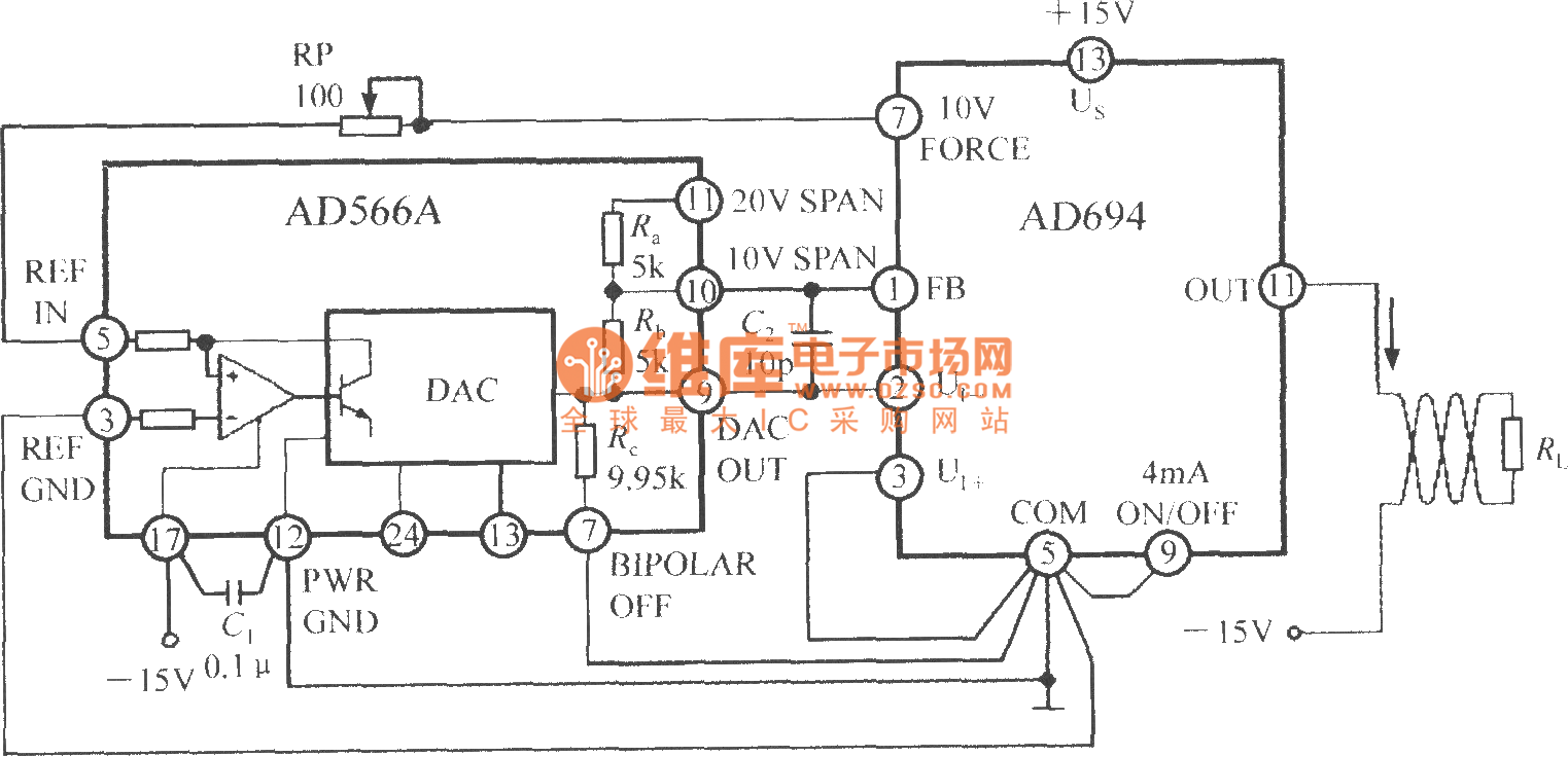 D/A converter (DAC) current loop interface circuit using multifunctional  sensor signal conditioner