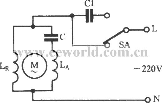 two-speed regulating circuit with single-phase motor connected with capacitor in series