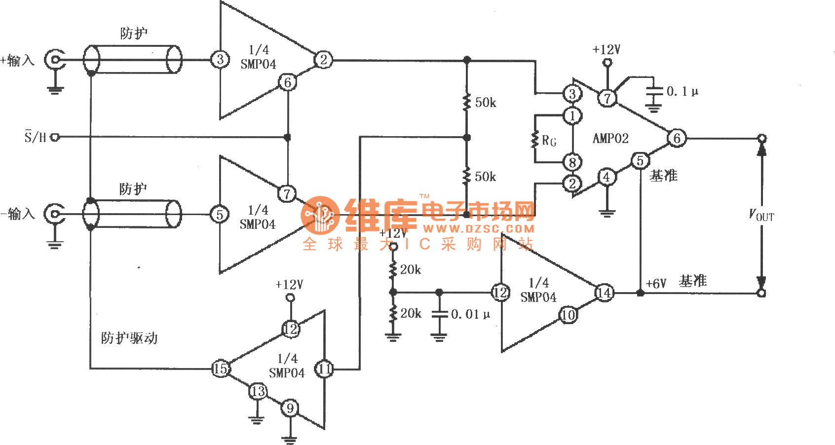 12v Single Supply Sampling Instrument Amplifier Circuit With Diagram 28 Computerrelatedcircuit Protective Driver Composed Of Smp04 And