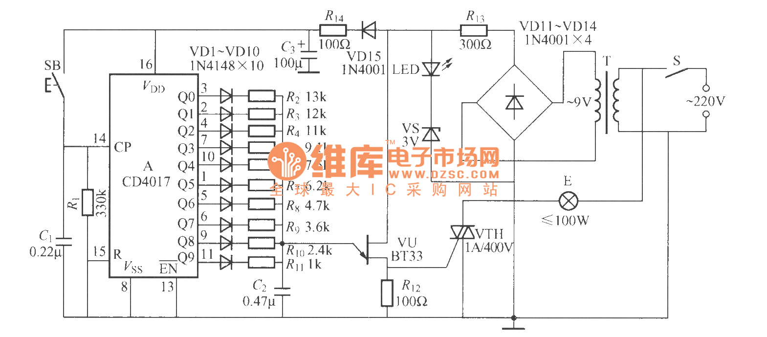 Single Button Digital Dimmer Light Circuit Led And Diagram