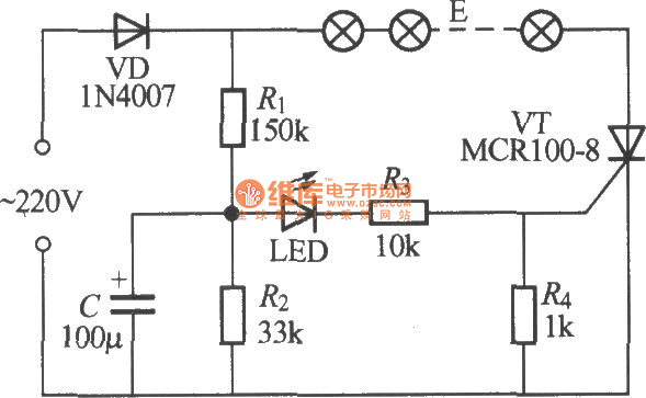 single-way flashing light string circuit  2  - led and light circuit - circuit diagram
