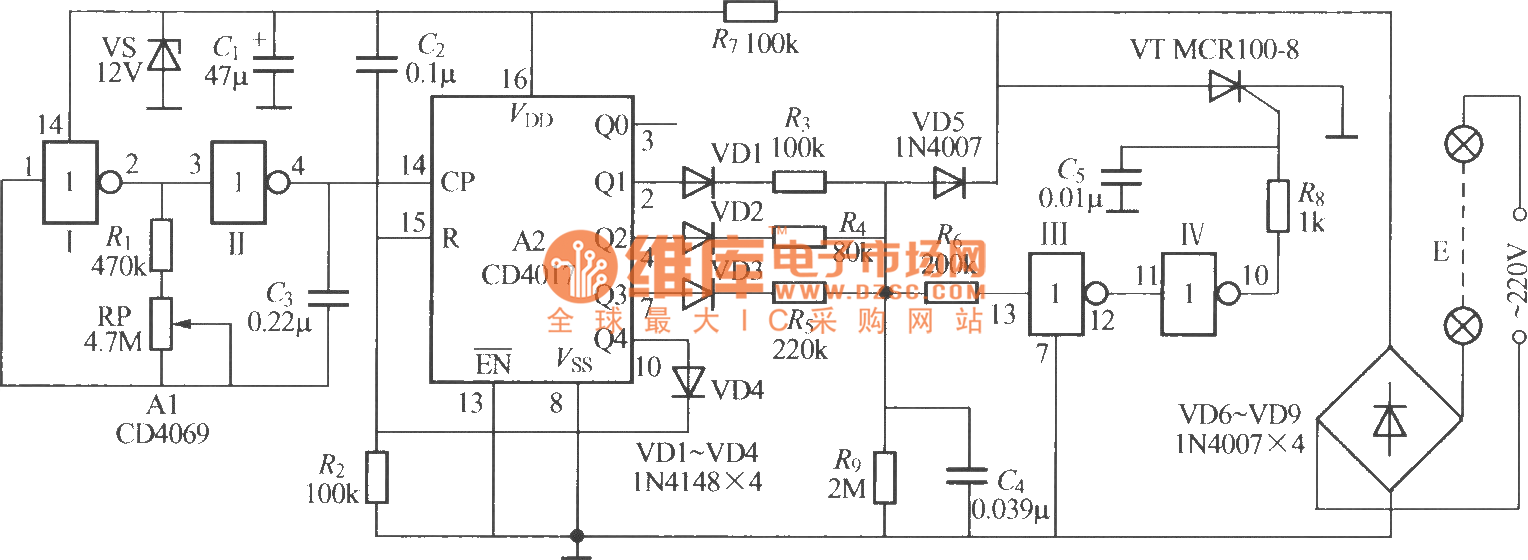 Pictures Of Single Flashing Led Circuit Ic 555 Flasher Eleccircuitcom Way Light String 3 And