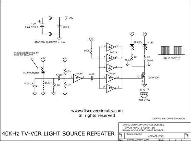 40khz tv-vcr light source repeater
